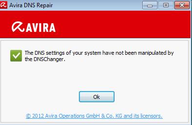 Avira DNS Repair default window