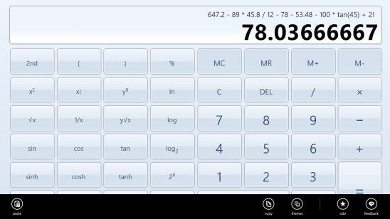 Calculator X8 - Windows 7 theme and flyout