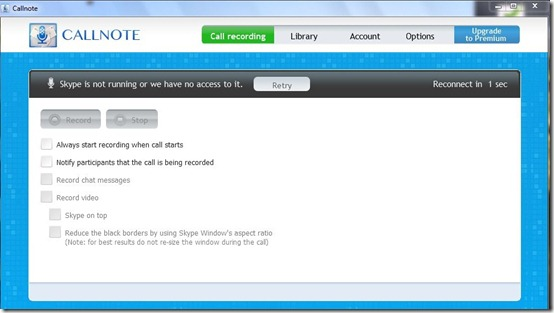 Callnote-skype call recorder-interface