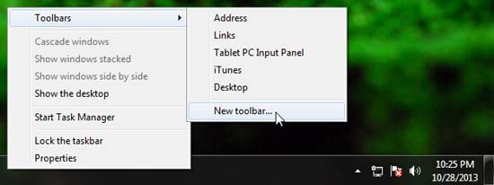 Choosing Add New Toolbar option from Taskbar Context Menu