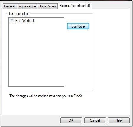 ClocX-clock app-pluginmenu