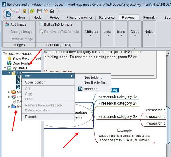 Docear adding new files maps