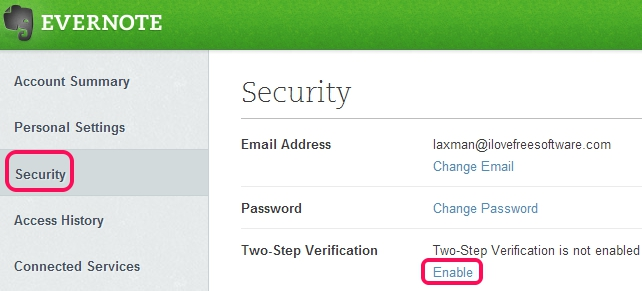 Evernote Two Step Verification- access security section