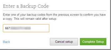 Evernote Two Step Verification- enter one of the backup codes to finish setup