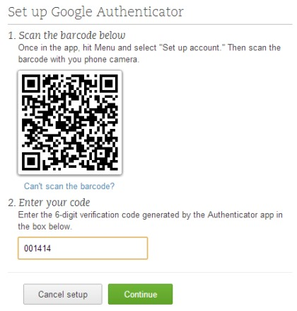 Evernote Two Step Verification- enter the code after scanning the barcode