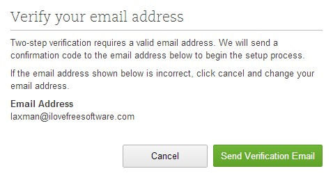 Evernote Two Step Verification- provide an email address for confirmation code