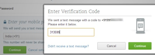 Evernote Two Step Verification- provide phone number and enter received code