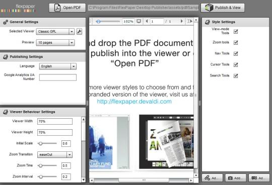 FlexPaper Desktop Publisher- interface