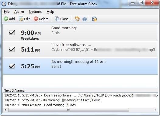 Free Alarm Clock- interface