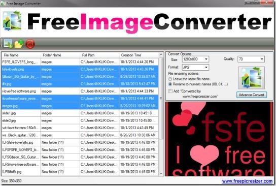 Free Image Converter- interface