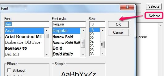Free Text To PDF Convert- Font window