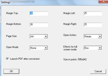 Free Text To PDF Convert- settings