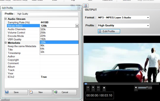 Free Video To MP3 converter- edit output profile
