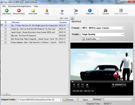 Free Video To MP3 converter- interface
