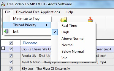 Free Video To MP3 converter- select thread priority