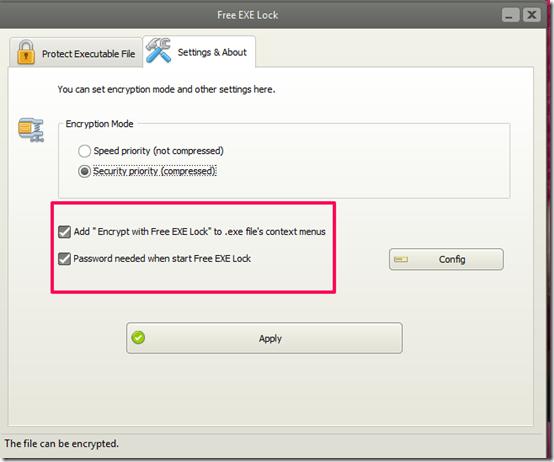 Free EXE Lock-file locker-settings tab