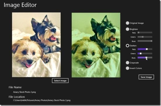 Image Editor - darken effect