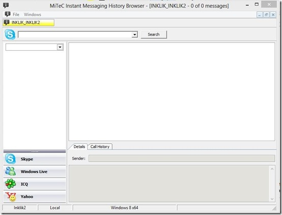Instant Messaging History browser-view chat history- main interface