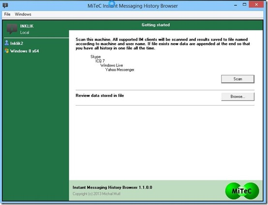 Instant Messaging History browser-view chat history- setup wizard