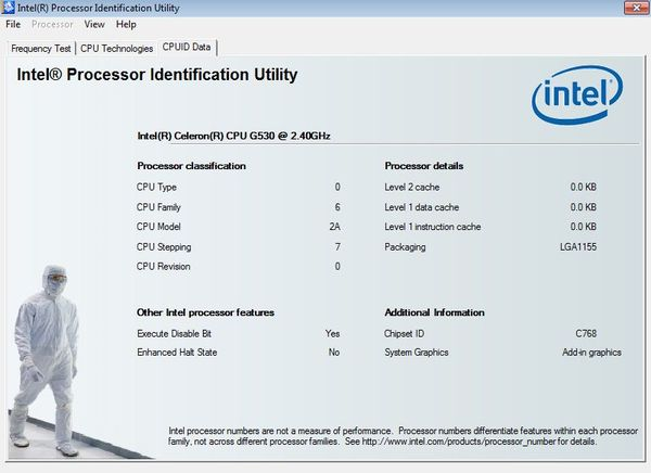 Intel Processor Indentification additional options