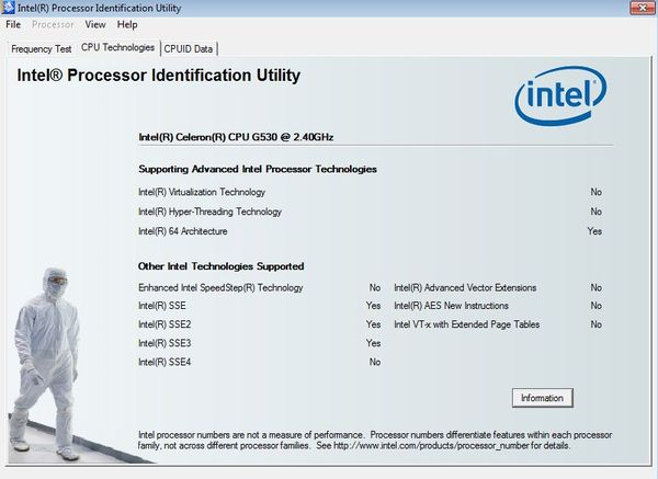 Intel Processor Indentification advanced