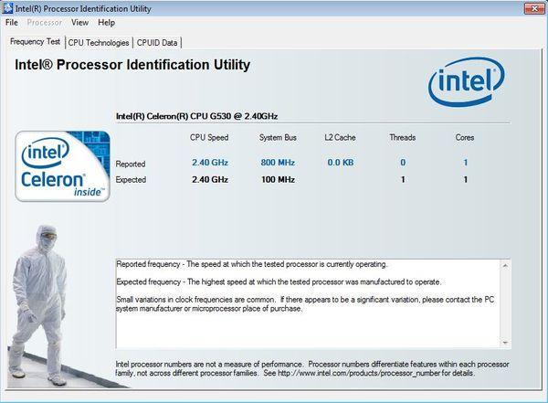 Intel Processor Indentification default window