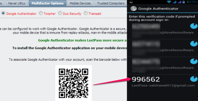 LastPass Two Factor Authentication- set up account with Google Authenticator to recieve code