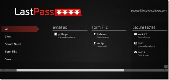 LastPass - main screen