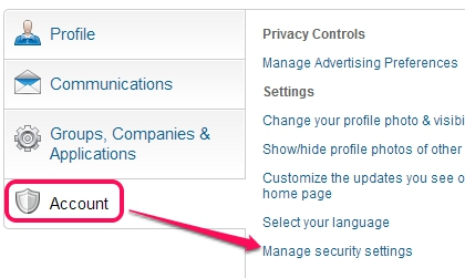 LinkedIn 2 factor authentication- access manage security settings
