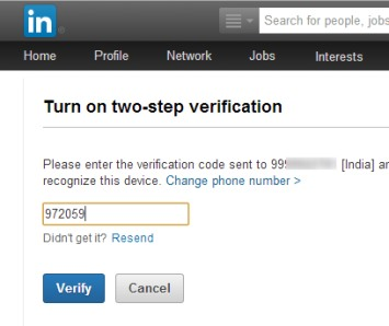 LinkedIn 2 factor authentication- enter the recieved code
