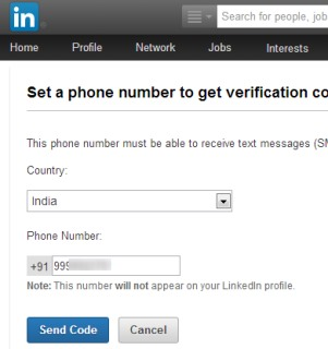 LinkedIn 2 factor authentication- provide a phone number