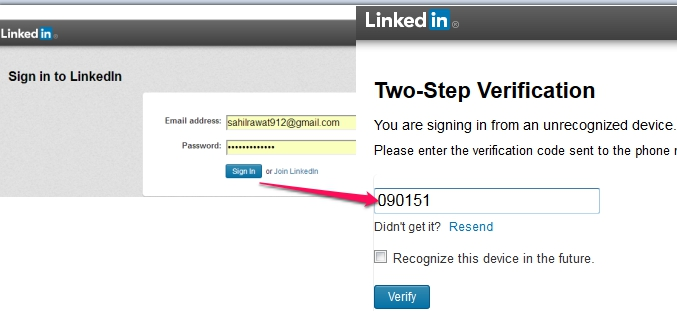 LinkedIn 2 factor authentication