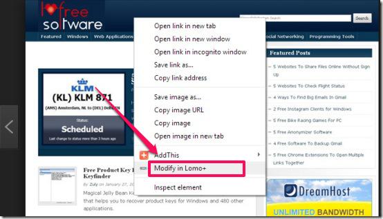 Lomo -online photo editor-context menu integration