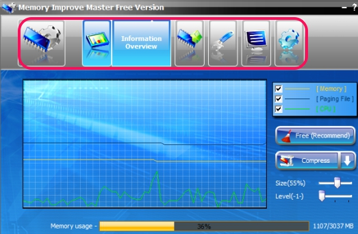 Memory Improve Master Free Version- action tabs