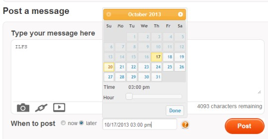 MySocialPost- schedule message to post later automatically