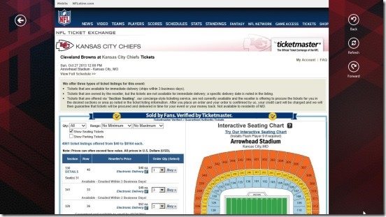 NFL Mobile - buying tickets