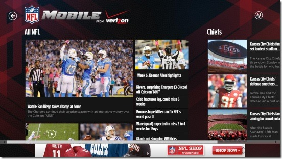 NFL Mobile - home screen