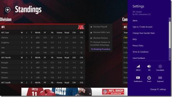 NFL Mobile - settings