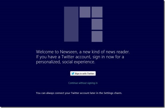 Newseen - login with Twitter credentials