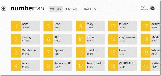 Number Tap - leaderboard