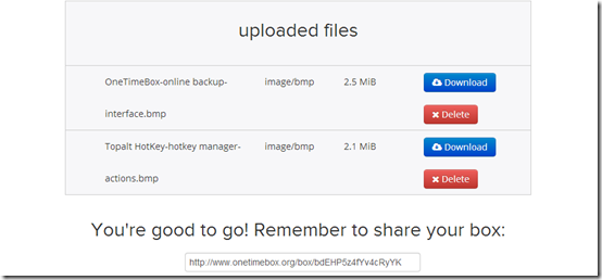 OneTimeBox-online backup- uploaded files box