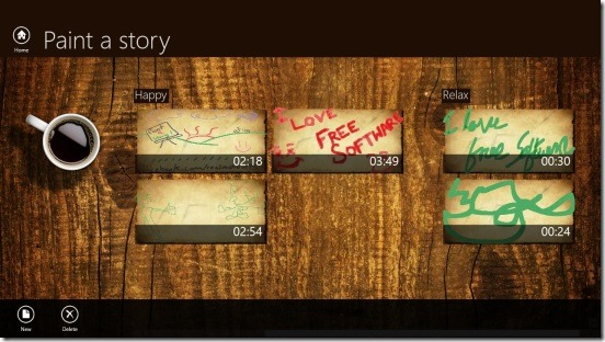 Paint a story - Home Screen