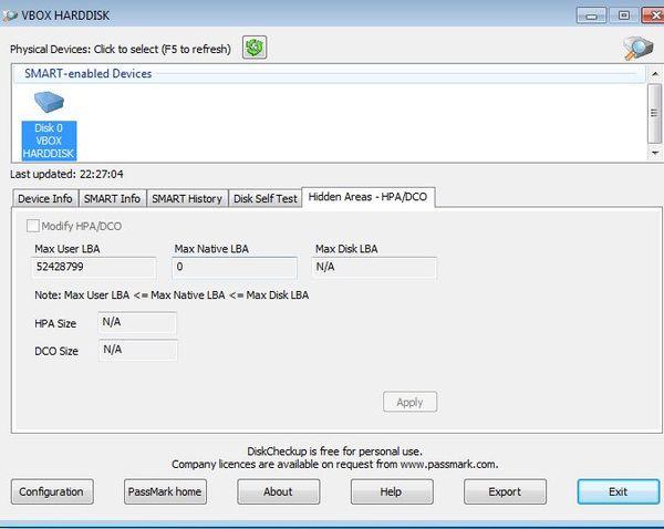 PassMark DiskCheckup selecting disk partition