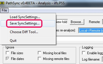 PathSync- save sync settings