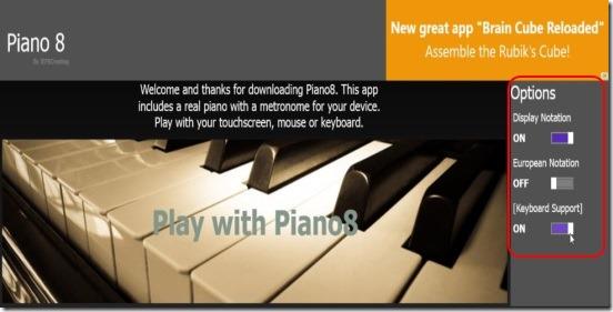 Piano8 - options at main screen