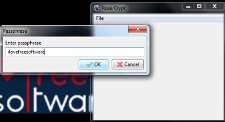 Rose Crypt- enter a passphrase