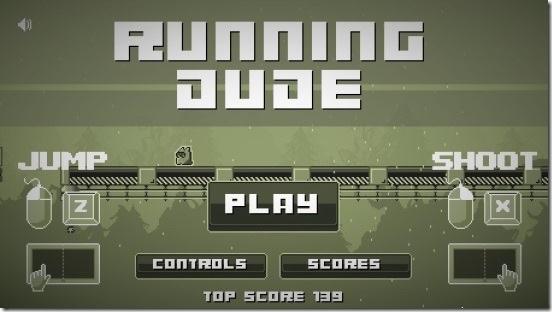 Running Dude - main screen