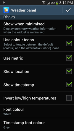 weather settings