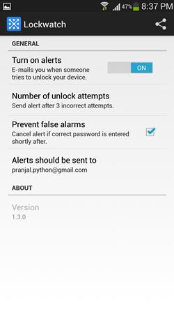 lockwatch settings