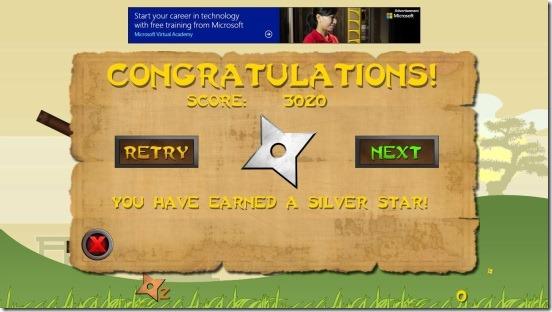Shuriken Ninja - level result